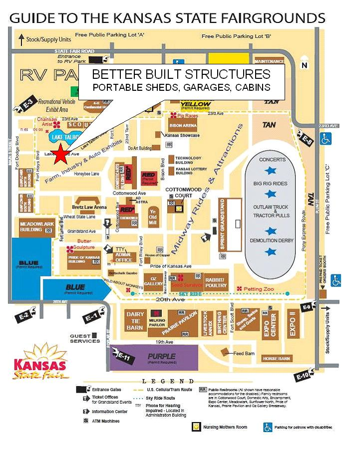 Better Built Structures at the Kansas State Fair on south carolina on map, wisconsin on map, minnesota on map, lsu on map, alabama on map, notre dame on map, colorado on map, kansas highway, yale on map, tulsa on map, marquette on map, kansas state highlights, ks road map, texas a&m on map, kansas flag, virginia on map, california on map, georgia on map, washington on map, gonzaga on map,