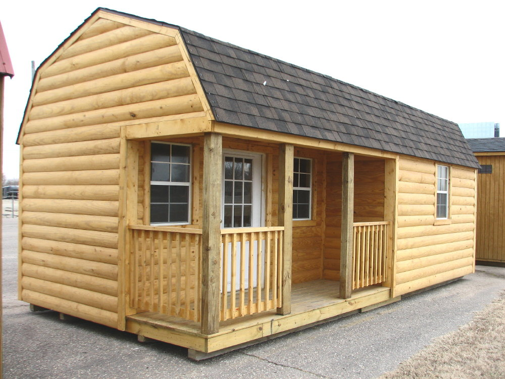 Rustic 12x34 portable office building storage shed new ebay for Barns and garages