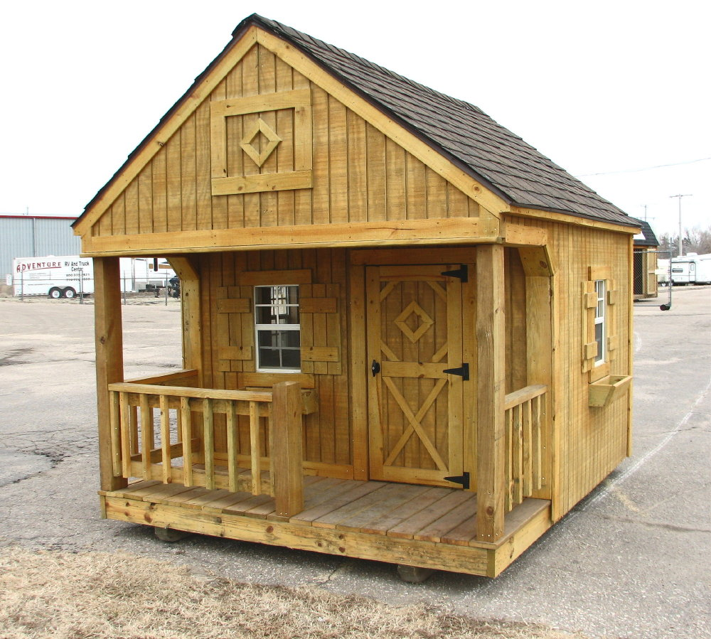 Portable playhouse by better built storage buildings for Storage building designs